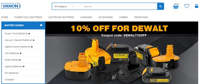 vanon batteries website screenshot with image of Dewalt bateries