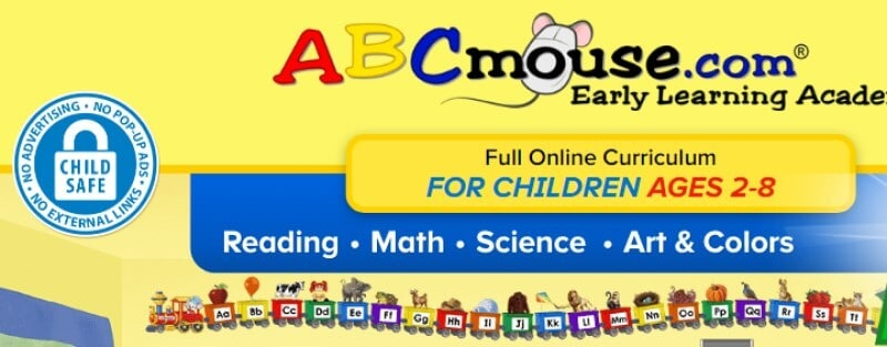 screenshot of the abcmouse website with a yellow background and a blue banner across the middle