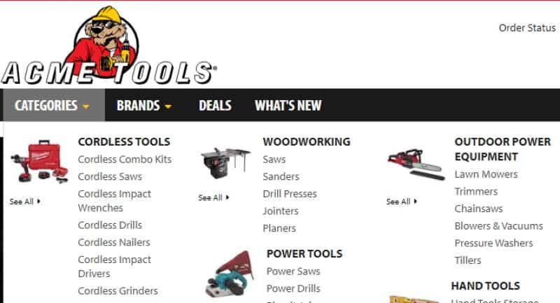 acme tools screenshot of website