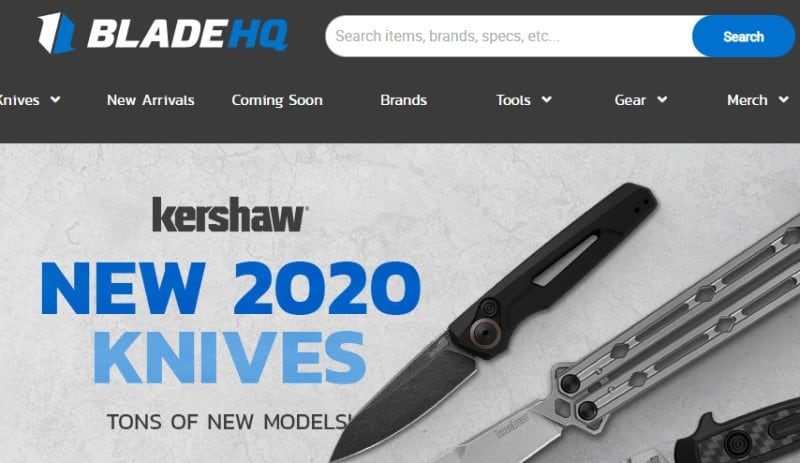 screenshot of the bladehq website showing off some of their products