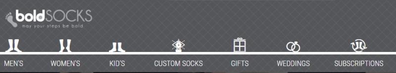 boldsocks website screenshot