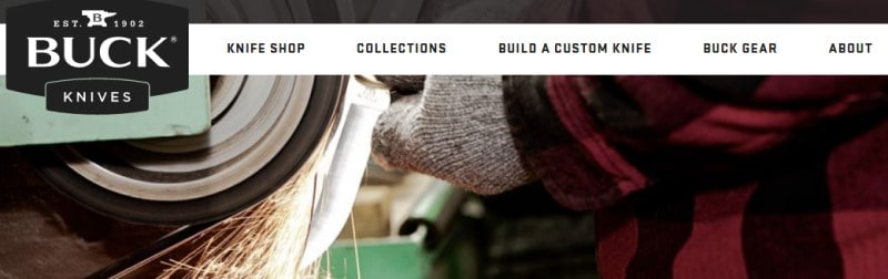 screenshot of the buck knives website with a man sharpening a small pocket knife