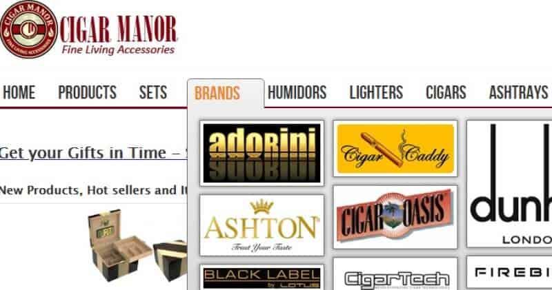 screenshot of the cigar manor website