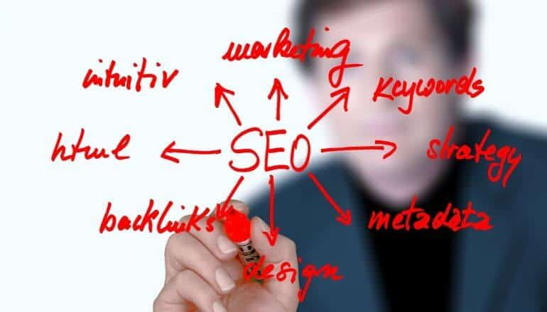 image showing SEO and marketing connections written in red marker.