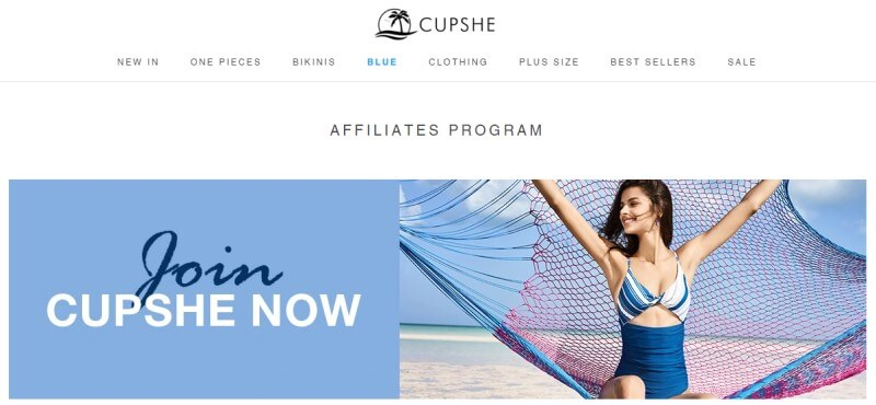 screenshot of the cupshe affiliate program website