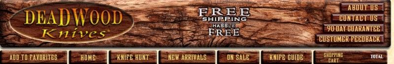 screenshot of the deadwood knives website