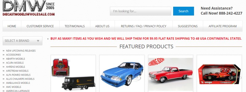 screenshot of the DMW website featuring some of their diecast model cars for sale