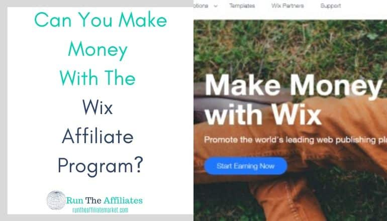 composite image with Make money with wix written over man sitting on grass