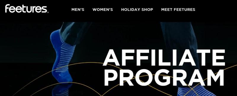 screenshot of the feetured affiliate program website