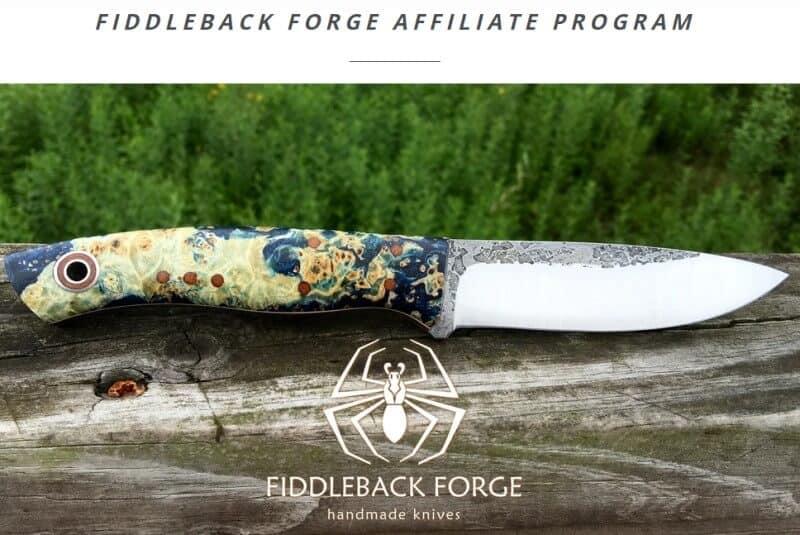 screenshot of the fiddleback forge affiliate program website showcasing one of their handmade pocket knives