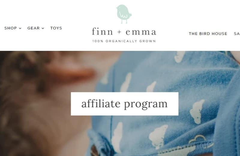 screenshot of the finn and emma affiliate webpage