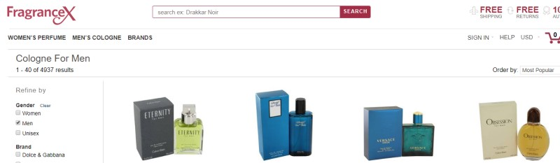 screenshot of fragrance x storefront showing a variety of mens cologne