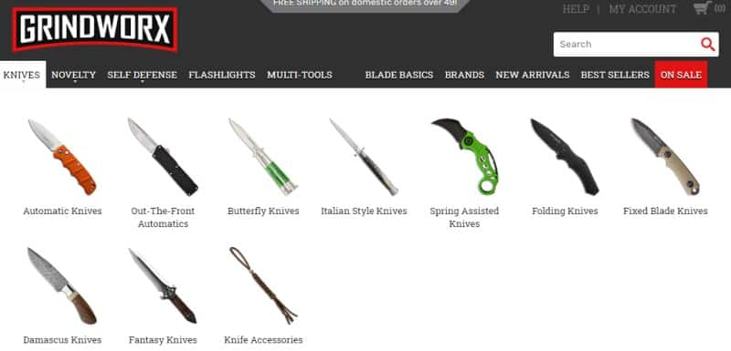 screenshot of the grindworx website featured an array of their products