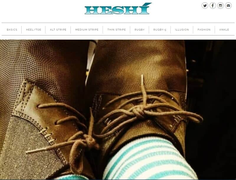heshi screenshot with striped socks and brown shoes