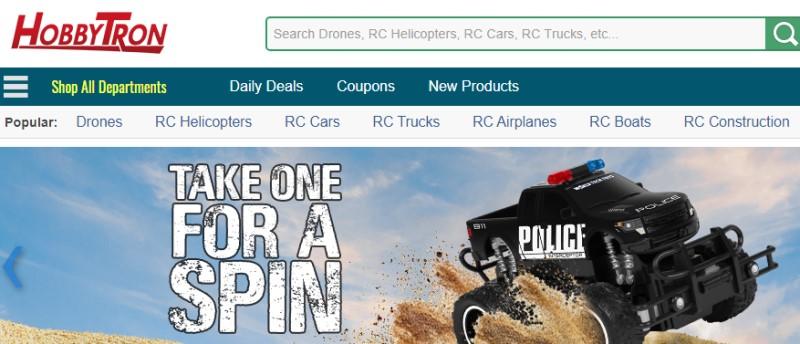 screenshot of hobbytron website featuring  rc monster truck