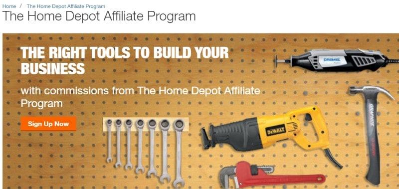 home depot affiliate program screenshot