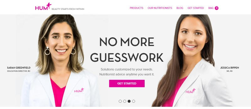 sceenshot of Hum Nutrition website featured two women doctors