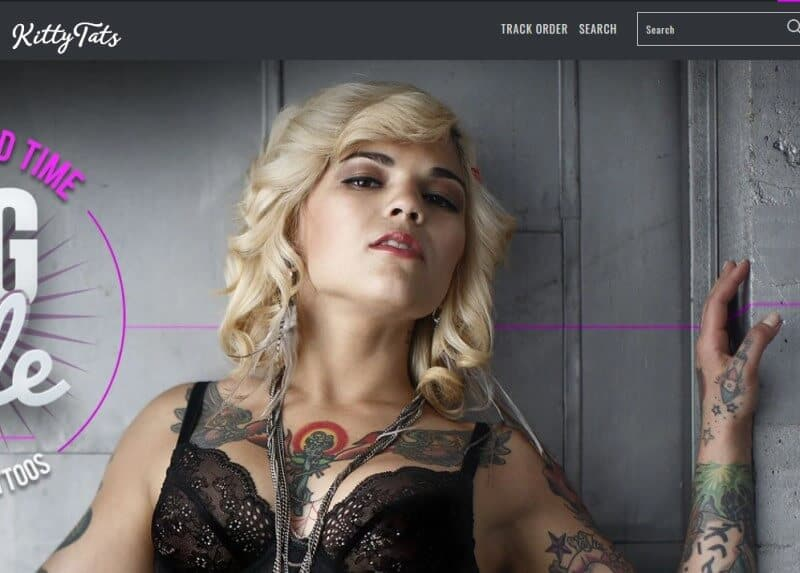 screenshot of a blond tattooed model on the Kitty Tats website