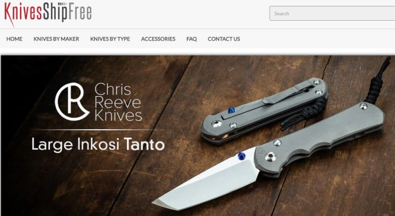screenshot of the knives ship free website featuring a small pocket knife with a grey handle