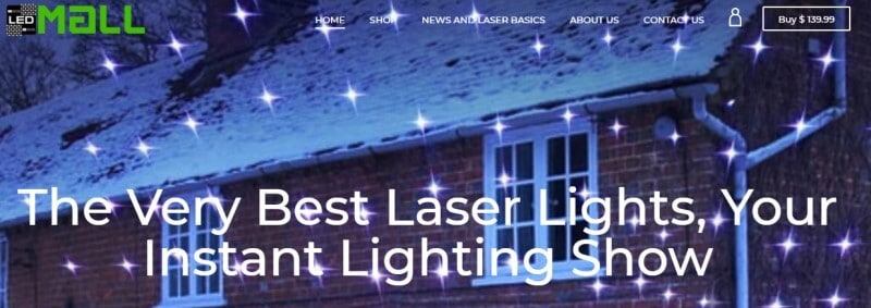 led mall website screenshot showing led lights projected on to a house