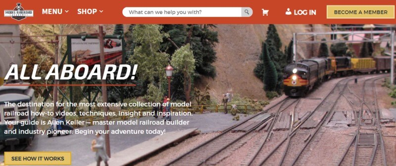 screenshot of the model railroad academy website featuring model trains and diaramas