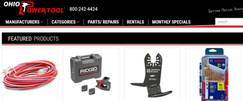 screenshot of the ohio power tool website