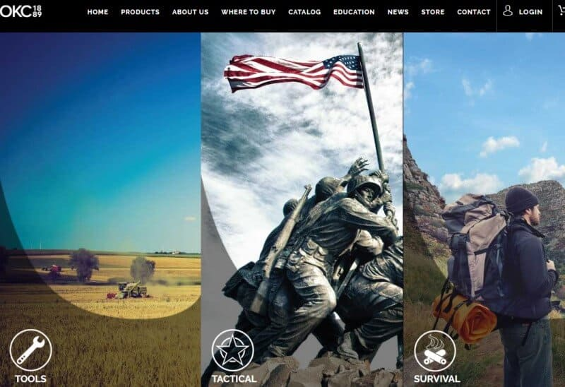 screenshot of ontario knife company website with a montage of images about their products