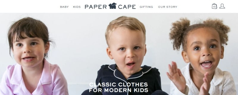 screenshot of paper cape website feature 3 children modeling their clothes