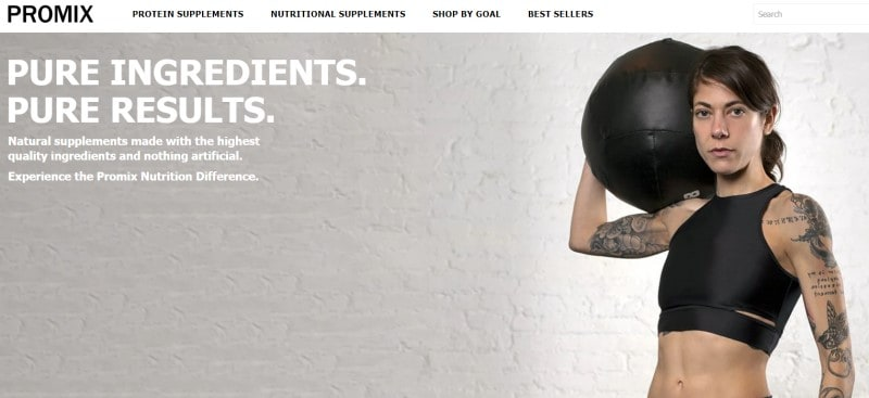 screenshot of promix website featuring a tattoed woman in black athletic gear holding a weighted ball in one arm