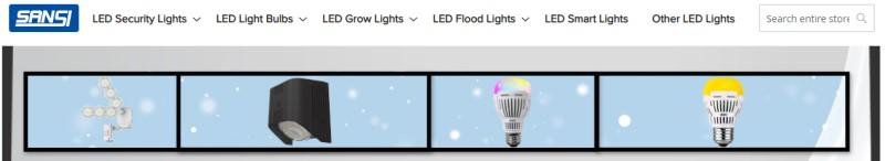 sansi website screenshot show a selection of led fixtures and bulbs