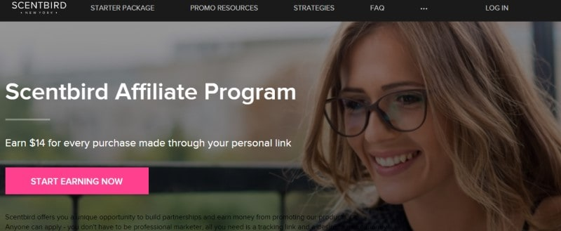 screenshot of the scentbird affiliate website featuring a smiling model in glasses