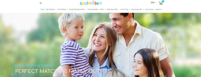 screenshot of new baby chic website featuring a family modelling their clothing