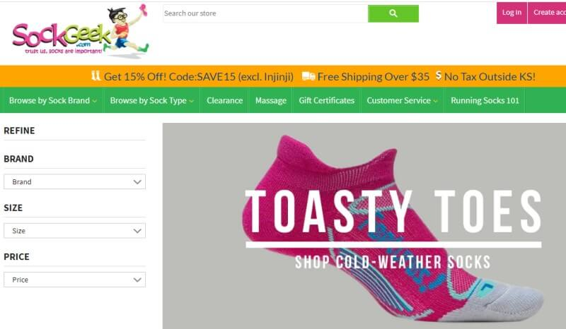 screenshot of sock geek website