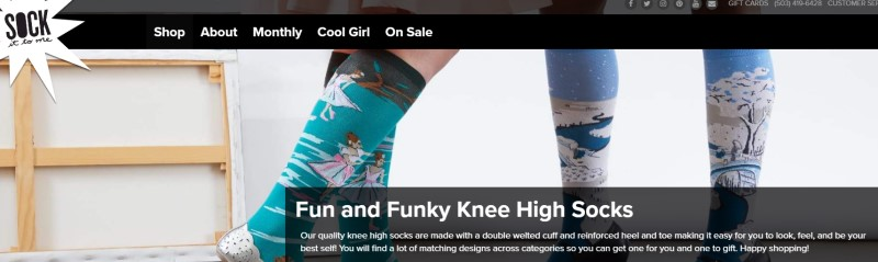 screenshot of sock it too me website featuring two pairs of colorful socks modeled by two women