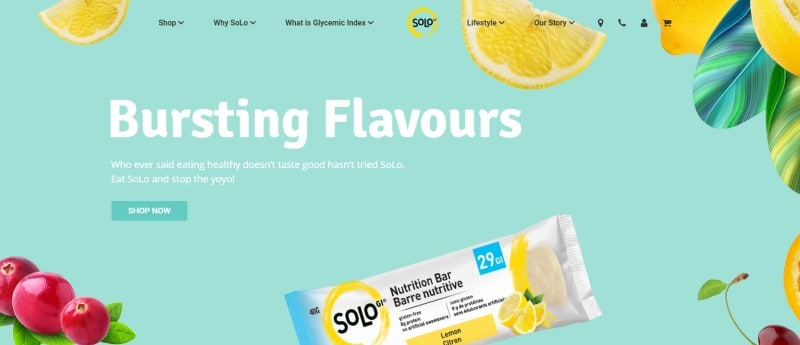 screenshot of the solo nutrition website featuring one of their nutrition bars in a white wrapper and various fruits