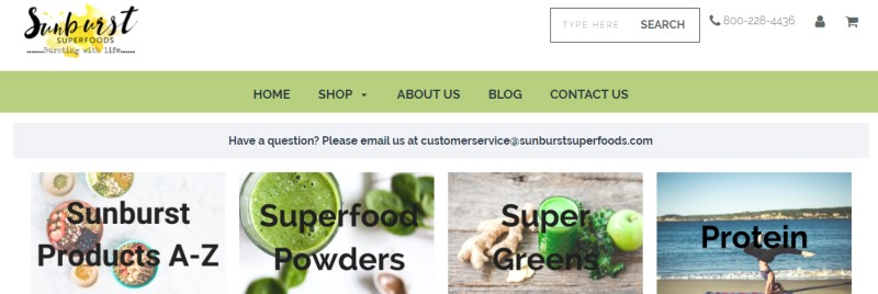 screenshot of the sunburst superfoods website featuring some of the product categories