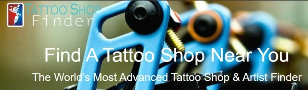 screenshot of the tattoo shop finder website featuring and image of tatto machines with the tattoo shop finder logo in the top left corner