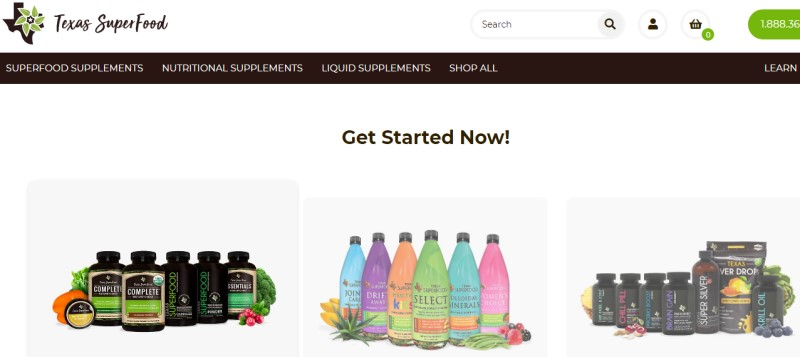 screenshot of the texas super food website showing some of their products