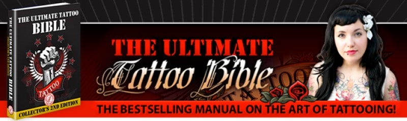 screenshot of the ultimate tattoo bible screenshot featured a picture of the ebook and a tattooed model