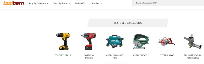 tool barn website featuring product categories
