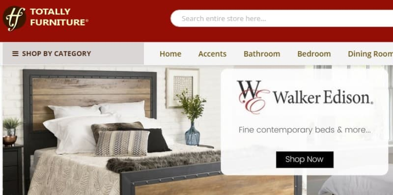 screenshot of the totally furniture website