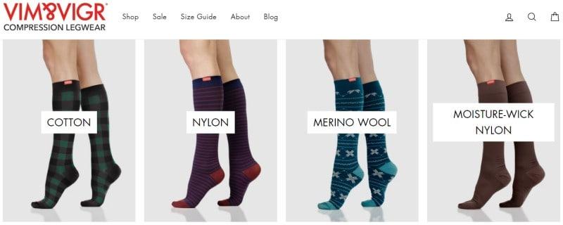 Vim&Vigr screenshot featuring 4 socks styles being worn by models