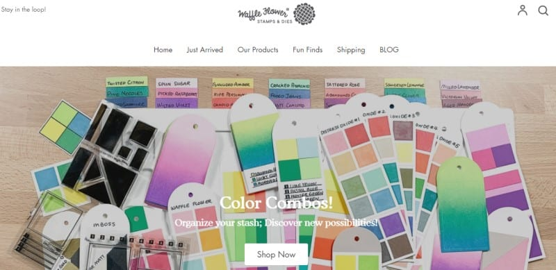 screenshot of waffleflower website featuring a selection of color swatches