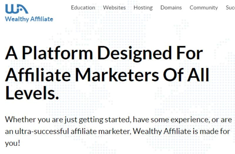 wealthy affiliate screenshot with WA logo in the top left corner