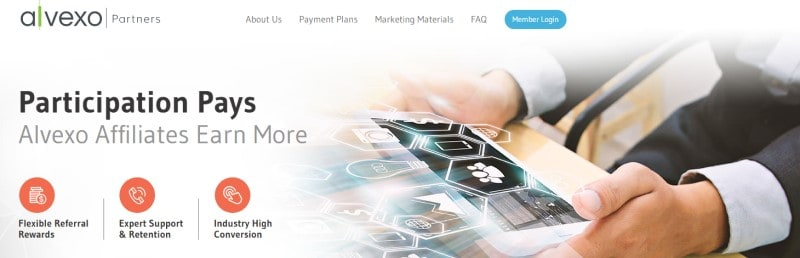 affiliate screenshot for alvexo partners