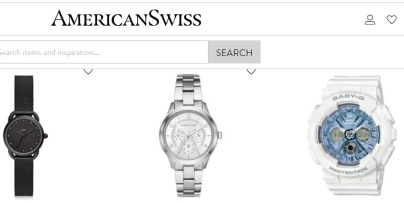 screenshot of american swiss website