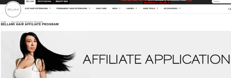 screenshot of the bellamy affiliate page featuring a woman with dark hair wearing a white tank tip
