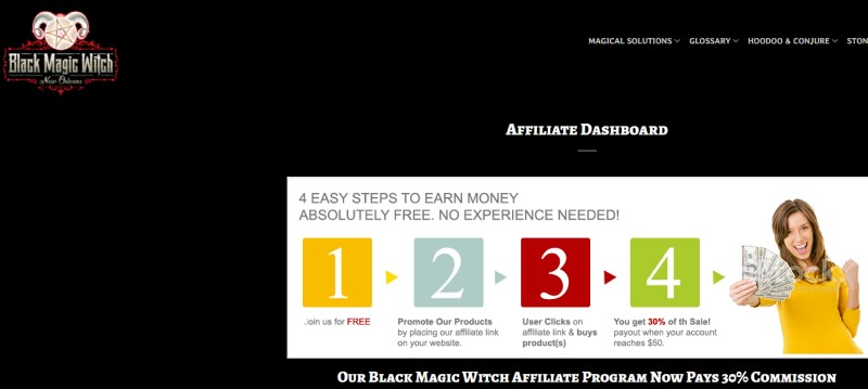 screenshot of the black magic witch affiliate webpage