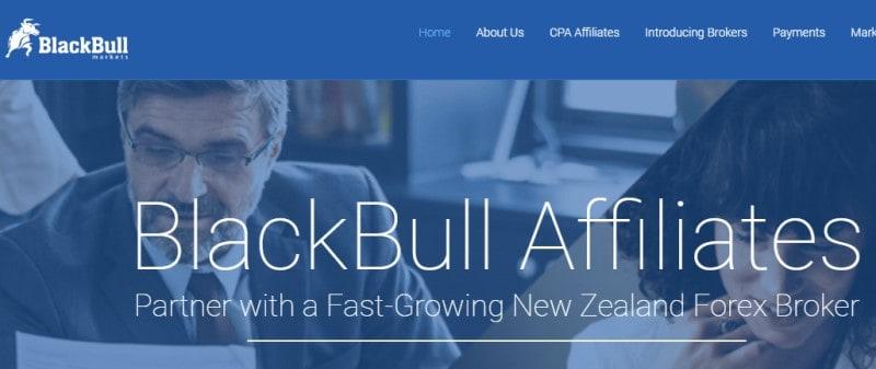 screenshot of the blackbull affiliate website