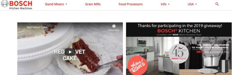 screenshot of the Bosch Kitchen Machines website